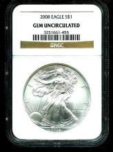 2008 GEM UNC NGC Slab Silver Eagle