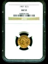 1907 AU 53 $ 2.5 Gold Liberty NGC Slab