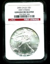 2006 GEM UNC - First Strikes NGC Silver Eagle