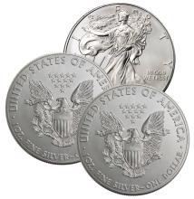 Lot of (3) US Silver Eagles - Random Dates