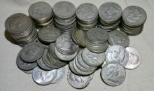 (80) Franklin Half Dollars - 90% Silver