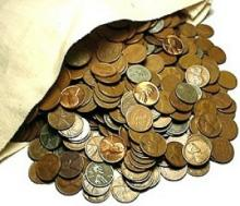 Bag of (2000) Wheat Cents - Canvas Bank Bag