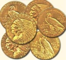 (6) Random Date $2.5 Gold Indian Quarter Eagles