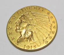 1915 $ 2.5 Gold Indian Quarter Eagle