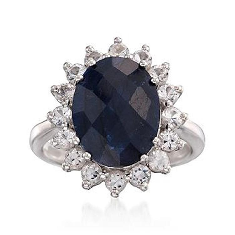 5.00 Carat Sapphire and 1.00 ct. t.w. White Topaz Ring in Sterling Silver Item#: 782837