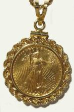 Random Date 1 oz Gold Eagle in 14k Rope Bezel