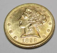 1893 BU MINT LUSTER $5 Gold Liberty