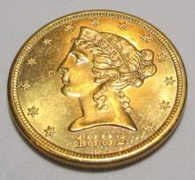 1882 s $5 Gold Liberty CH BU Mint Luster