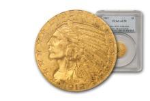 1912 AU 58 PCGS $ 5 Gold Indian
