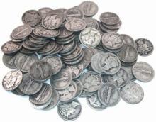 Lot of 100 Mercury Dimes - 90% Silver