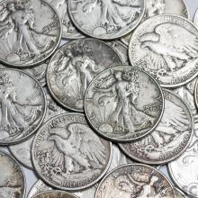 (20) 90% Silver Walking Liberty Halves