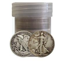 (20) Walking Liberty Halves in Roll - 90% Silver