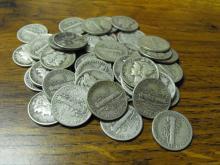 (50) $ 5 Face Value 90% Silver Mercury Dimes
