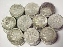 (100) Roosevelt Dimes -90% Silver