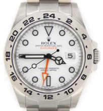 PRE OWNED MENS ROLEX STAINLESS STEEL EXPLORER II WITH A WHITE DIAL 216570