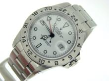 PRE OWNED MENS ROLEX STAINLESS STEEL EXPLORER-II WITH A WHITE DIAL 16570