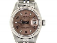 PRE OWNED LADIES ROLEX STAINLESS STEEL ARABIC DATE WITH A SALMON DIAL 69174