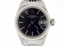 PRE OWNED LADIES ROLEX STAINLESS STEEL DATE WITH A BLACK DIAL 6517