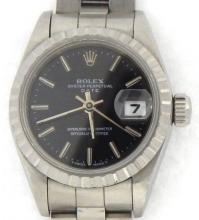 PRE OWNED LADIES ROLEX STAINLESS STEEL DATE WITH A BLACK DIAL 69240