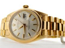 PRE OWNED MENS ROLEX YELLOW GOLD DATEJUST WITH A SILVER DIAL 1601