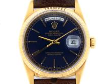 PRE OWNED MENS ROLEX YELLOW GOLD DAY-DATE WITH A BLUE DIAL 18238