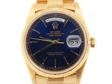 PRE OWNED MENS ROLEX YELLOW GOLD DAY-DATE WITH A BLUE DIAL 18248