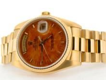 PRE OWNED MENS ROLEX YELLOW GOLD DAY-DATE WITH A BROWN DIAL 18038