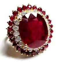 Ruby and Diamond Ring 14k Gold
