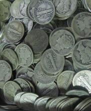 Lot  of 100 Mercury Dimes-