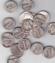 15 Assorted Mercury Dimes