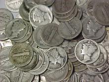 Lot of 100 Mercury Dimes