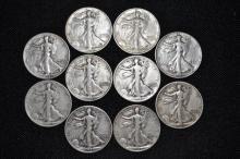Lot of 10 Walking Liberty Half Dollars