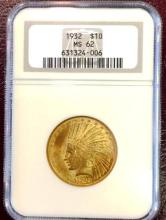 1932 MS 62 $ 10 Gold Indian NGC