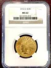 1910 D MS 62 NGC $ 10 Gold Indian