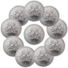 (10) Silver 1 oz Canadian Maple Leaf's