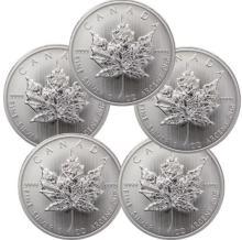 (5) Silver Canadian Maple Leaf's 1 oz Each