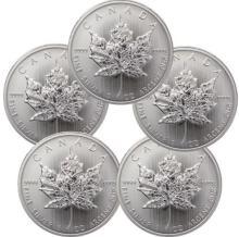 (5) Random Date Silver Canadian Maple Leaf's