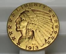 1913 D $ 5 Gold Indian Half Eagle