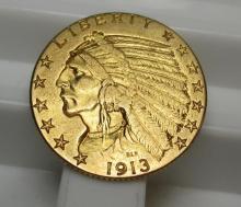 1913 $ 5 Gold Indian Half Eagle