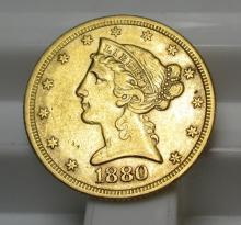 1880 $5 Gold Liberty Half Eagle