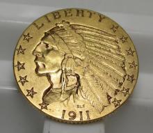 1911 S $ 5 Gold Indian Half Eagle