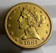 1883 P $5 Gold Liberty Half Eagle