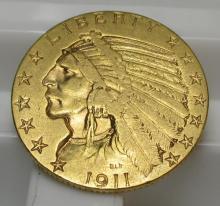 1911 $ 5 Gold Indian Half Eagle