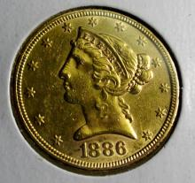 1886 S $5 Gold Liberty Half Eagle