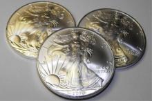 Lot of (3) US Silver Eagles Random Dates