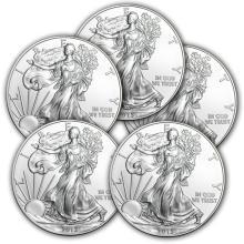 Lot of (5) Random Date Silver Eagles