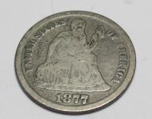 1877 Carson City CC Seated Liberty Dime VG
