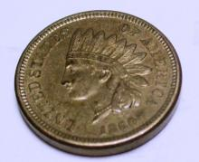 1860 Civil Ware RARE POINTED BUST Indian Cent