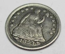 1853 Seated Liberty Half Dime w/ Arrows