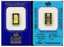 1 Gram Pamp Suisse Gold Ingot on Assay Card